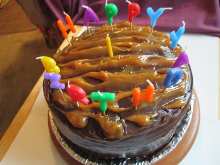 Dark Chocolate Caramel Birthday Cake