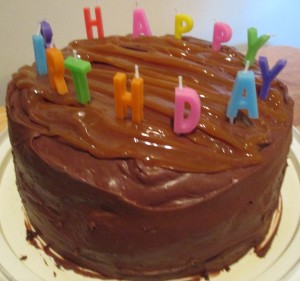 Chocolate Fudge Caramel Birthday Cake